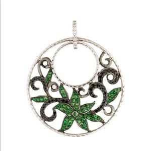 Black diamond & tsavorite 18 k white gold pendant